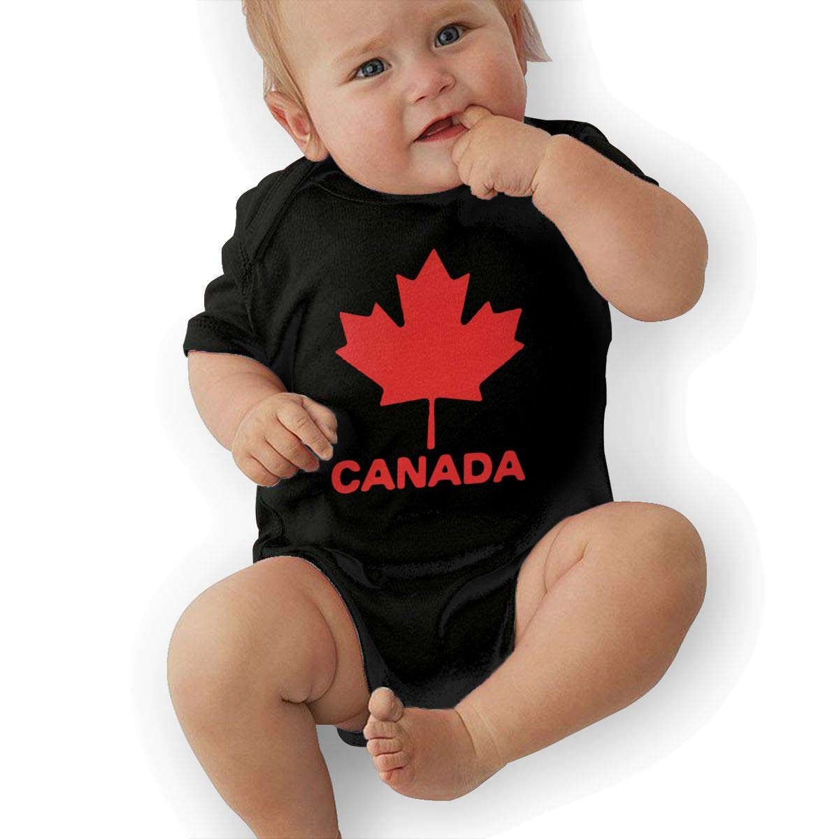 Soft Canadian Flag Canada Maple Leaf Onesies Short Sleeve Cotton Bodysuit for Baby Girls Boys