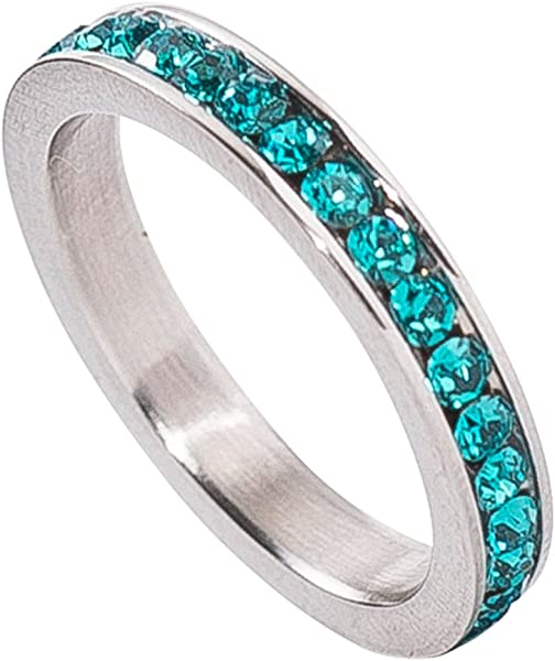 d5ae322fa49c Birthstone Eternity Ring~December~Stainless Steel~Cubic Zirconia CZ  Band~Blue Topaz~Turquoise Crystals~Stackable~Mother s Ring~Children s Ring~Women s  ...