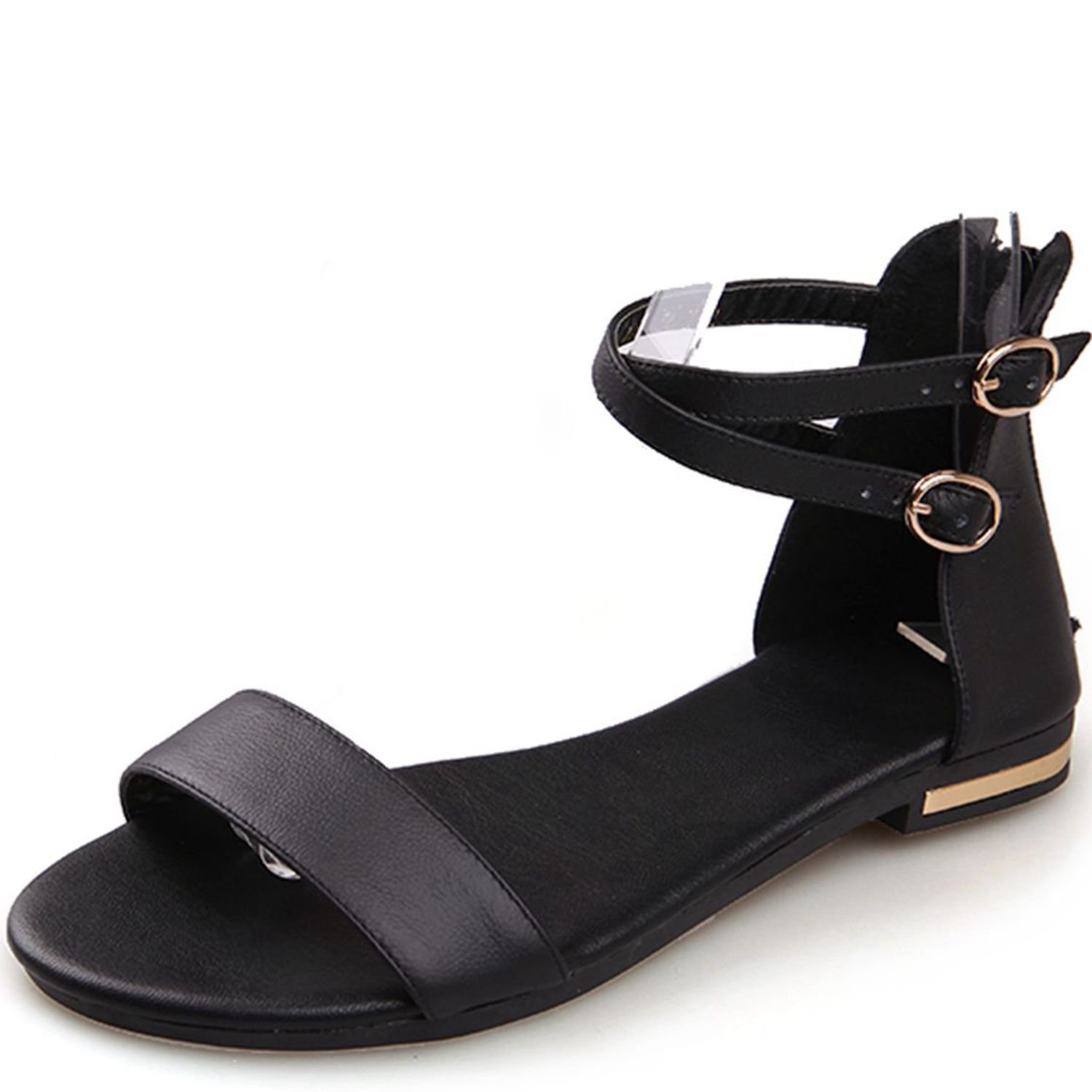 VIMISAOI Women's Leather Buckle Strap Summer Open Toe Ankle Strap Zip Casual Flat Sandals Shoes B0794ZSVNP 9 B(M) US|Black