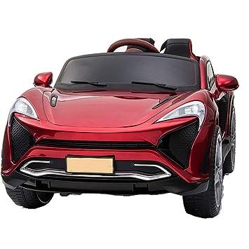 TH Coche Eléctrico para Niños Auto Deportivo- 2.4Ghz, 12V, 4 X Motor, Control Remoto, Dos Asientos En Cuero, Ruedas EVA Blandas,Red: Amazon.es: Jardín