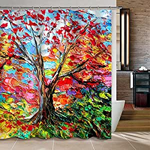 Uphome colorful oil painting tree pattern for Bathroom paintings amazon