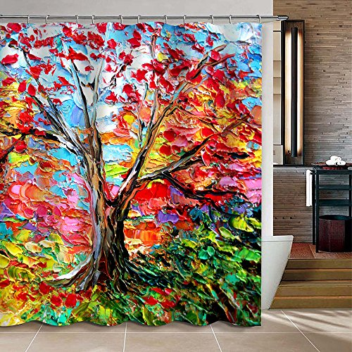 Uphome Colorful Oil Painting Tree Pattern Custom Bathroom Sh