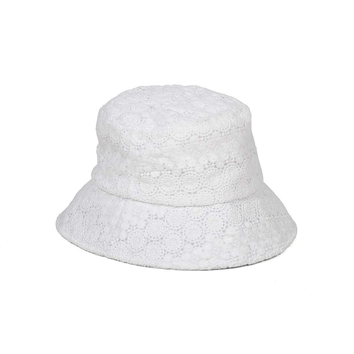 Lack of Color Women's Wave Lace Bucket Hat (White, Small/Medium)