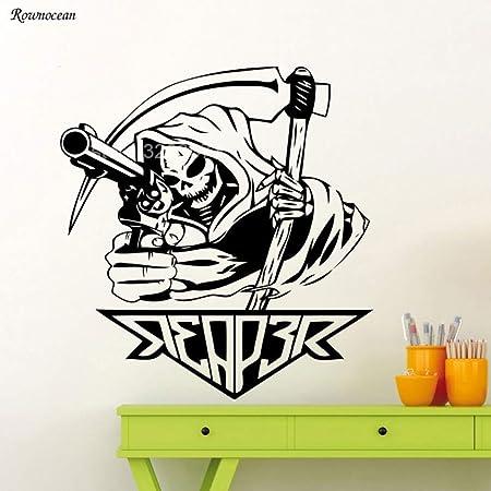 guijiumai Diseño Fresco Grim Reaper con Pistola Tatuajes de ...