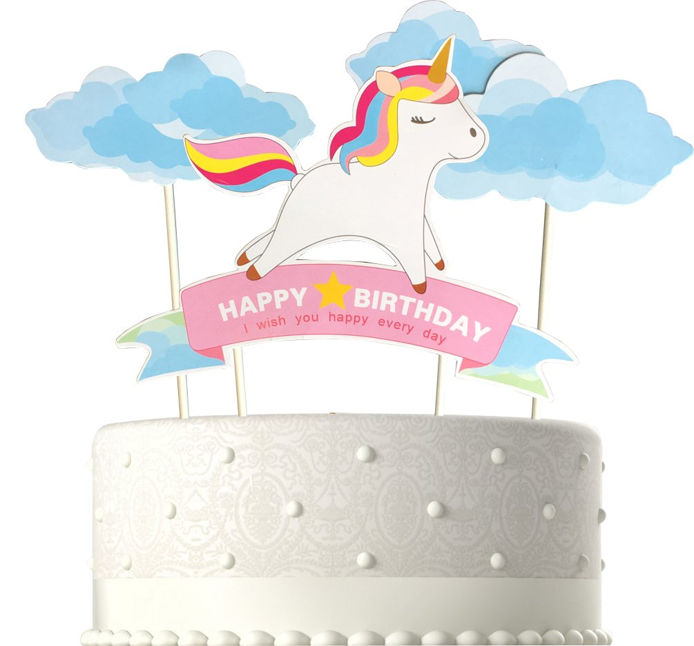 Blue Handmade Unicorn Birthday Cake Toppers, Cake Decorations for Kids Birthday Party Supplies 4