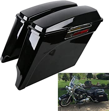"""Harley Road King Stretched 6/"""" Saddlebag No Lids Right Exhaust Touring Flh"""