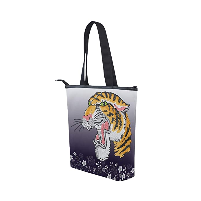 b1a6325fe583 Amazon.com: IMOBABY Tiger Canvas Large Shopping Tote Bag Zippered ...