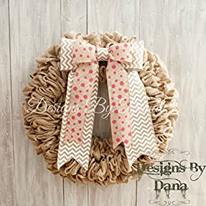 "Front door burlap wreath with bow, Wreath for all occasions, 19"" wreath for year round use, Everyday door wreath 108"
