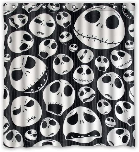 72 by 60-Inch Custom Unique Design The Nightmare Before Christmas Skull Waterproof Fabric Shower Curtain