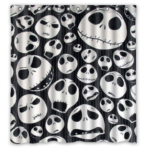 CHATAE Custom Design The Nightmare Before Christmas Skull Waterproof Fabric Shower Curtain, 72 by 66-Inch
