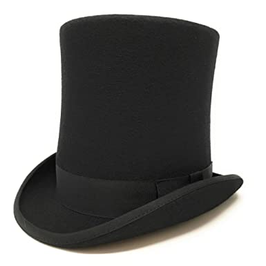 8 quot  Tall Victorian Style Black Wool Top Hat-Stovepipe Style Hat S M 79ba8da5e26
