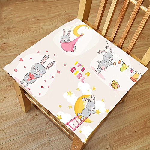 Nalahome Set of 2 Waterproof Cozy Seat Protector Cushion Teen Girls Decor Bunny Rabbit Sleeping Doing Laundry Picking Stars Love Cartoon Art Cute Decoration Yellow Beige Printing Size - Your Picking Sunglasses For Face