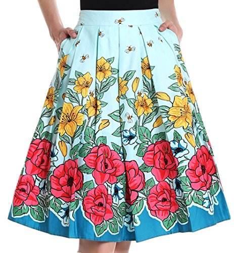 Yige Women's Vintage High Waist Flared Skirt Pleated Floral Print Midi Skirt with Pocket Bee-Flower-XS