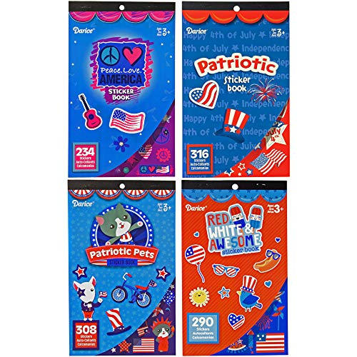 4 Patriotic Sticker Books for Kids - 4th of July Theme DIY Crafts - 1148 Assorted Stickers - At Home or Travel Activity Books -