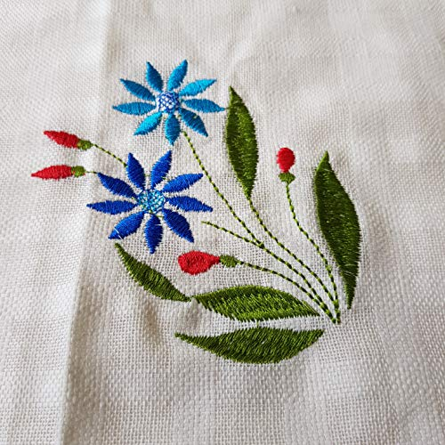 - DOWDEGDEE Embroidered Bright Blue Flowers Cotton Hand Towels Guest Hand Towel Fingertip Towel Hanging Wipe - Set of 4