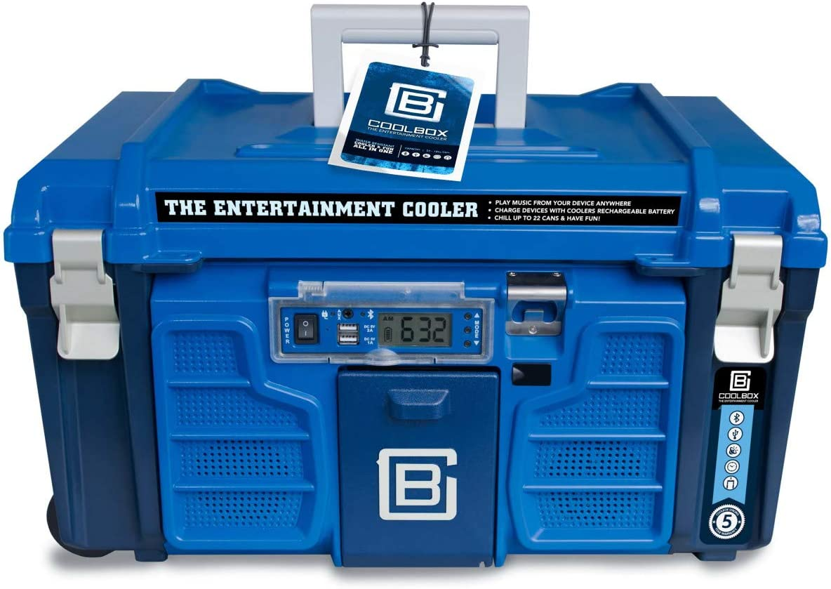Coolbox: the Entertainment Cooler Built-in Accessories like Bluetooth Speakers Hard, Portable Ice Chest on Wheels Rolling, Insulated Drink Box for Travel, Picnics and Camping (Blue)