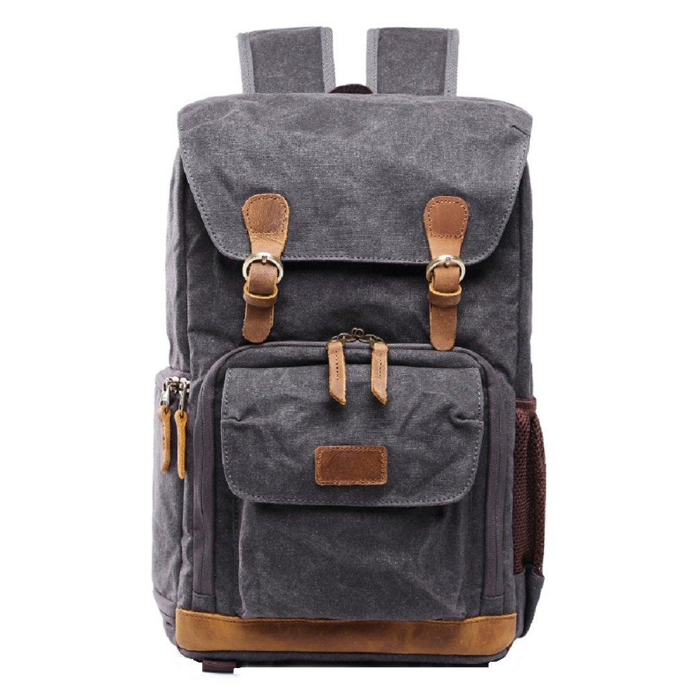 Love Needs Waterproof Camera Backpack Casual Canvas DSLR Camera Bag Laptop Daypacks Digital Camera Accessories Hiking Traveling Rucksack Photo Gear Backpack(Dark Grey)