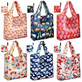 [Thickened Nylon] Reusable Shopping Tote Bags Pack of 6 | JARTON Collapsible Reusable Grocery Bags Heavy Duty with 35lbs Weight Capacity
