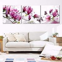 SHUAEG 3 Piezas De Flores con Mariposa HD Canvas Art Painting para La Decoración De La Pared De La Sala De Estar