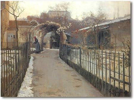 Cuadro Decoratt: Jardin de invierno (Paris) - Santiago Rusiñol 84x62cm. Cuadro de impresión directa.: Amazon.es: Hogar