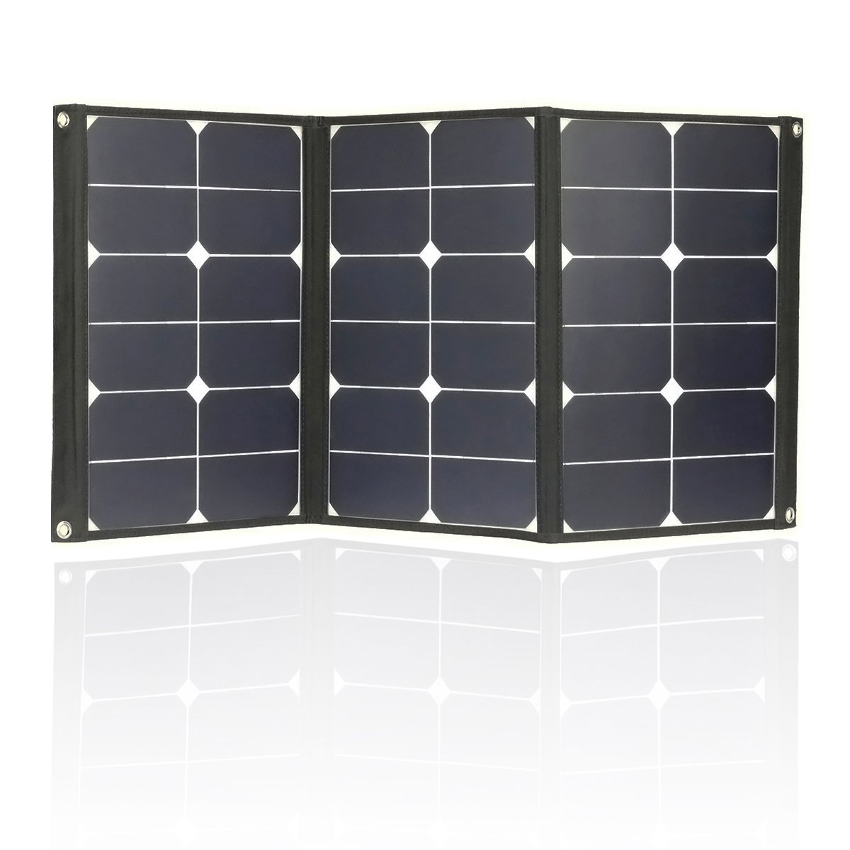 60 Watt Portable Solar Charger, Foldable Sunpower 18V 12V Solar Panel with MC4 connector and Dual-port Output (USB 5V + DC 18V) for Hiking, Camping, Solar Generator, RV, Boat, Tent