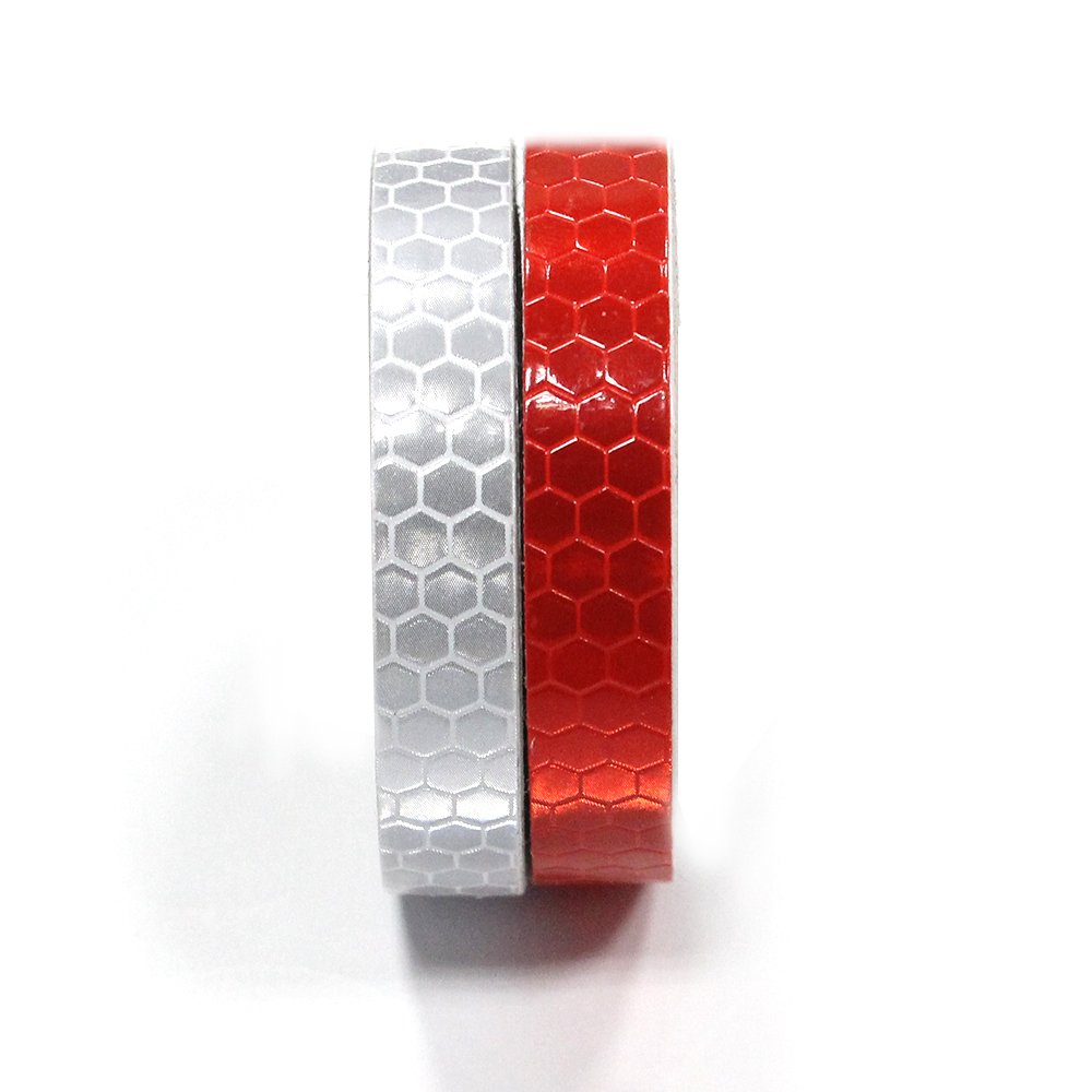 2Pcs 1cmx5m(0.4''x196'') Honeycomb Self-Adhesive Safety refelctive Tape Warning Tape Reflector Tape Security Marking Tape Waterproof for car/Trailers/Truck/Traffic/Construction site(Red,Silver)