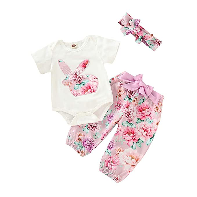 ecad5981d5c Amazon.com  Easter Outfit 3Pcs Set Newborn Infant Baby Girl My 1st Easter  Bodysuit Bunny Romper+Pants+Headband  Clothing
