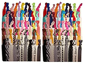 Kenz Laurenz No Crease Elastic Ribbon Ponytail Holders Hair Bands, Prints and Solids, 100 Ties