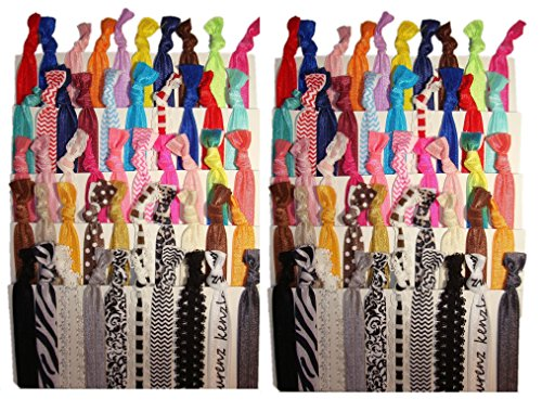 Kenz Laurenz No Crease Elastic Ribbon Ponytail Holders Hair Bands, Prints and Solids, 100 Ties ()