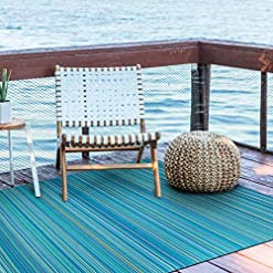 Garden and Outdoor Wefavor Reversible Outdoor/Indoor Plastic Rug,Easy to Clean and Fold,Perfect for Garden, Patio, Picnic, Decking-(Blue,8x10Ft) outdoor rugs
