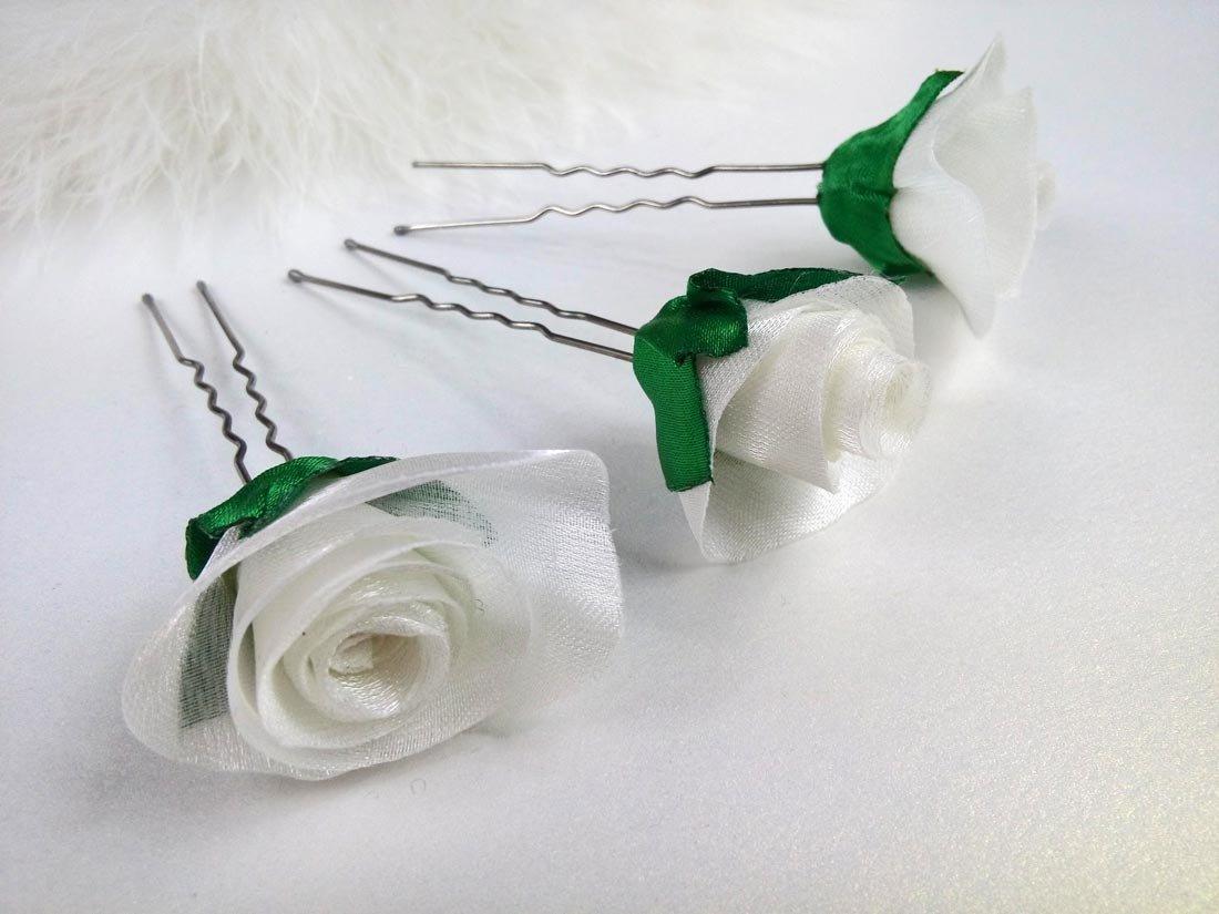Bridal Hair Pins, SET of 3 Hair Pins With Roses White Green Organza