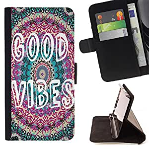 - Good Vibes - - Monedero PU titular de la tarjeta de cr?dito de cuero cubierta de la caja de la bolsa FOR Apple Iphone 6 PLUS 5.5 Retro Candy