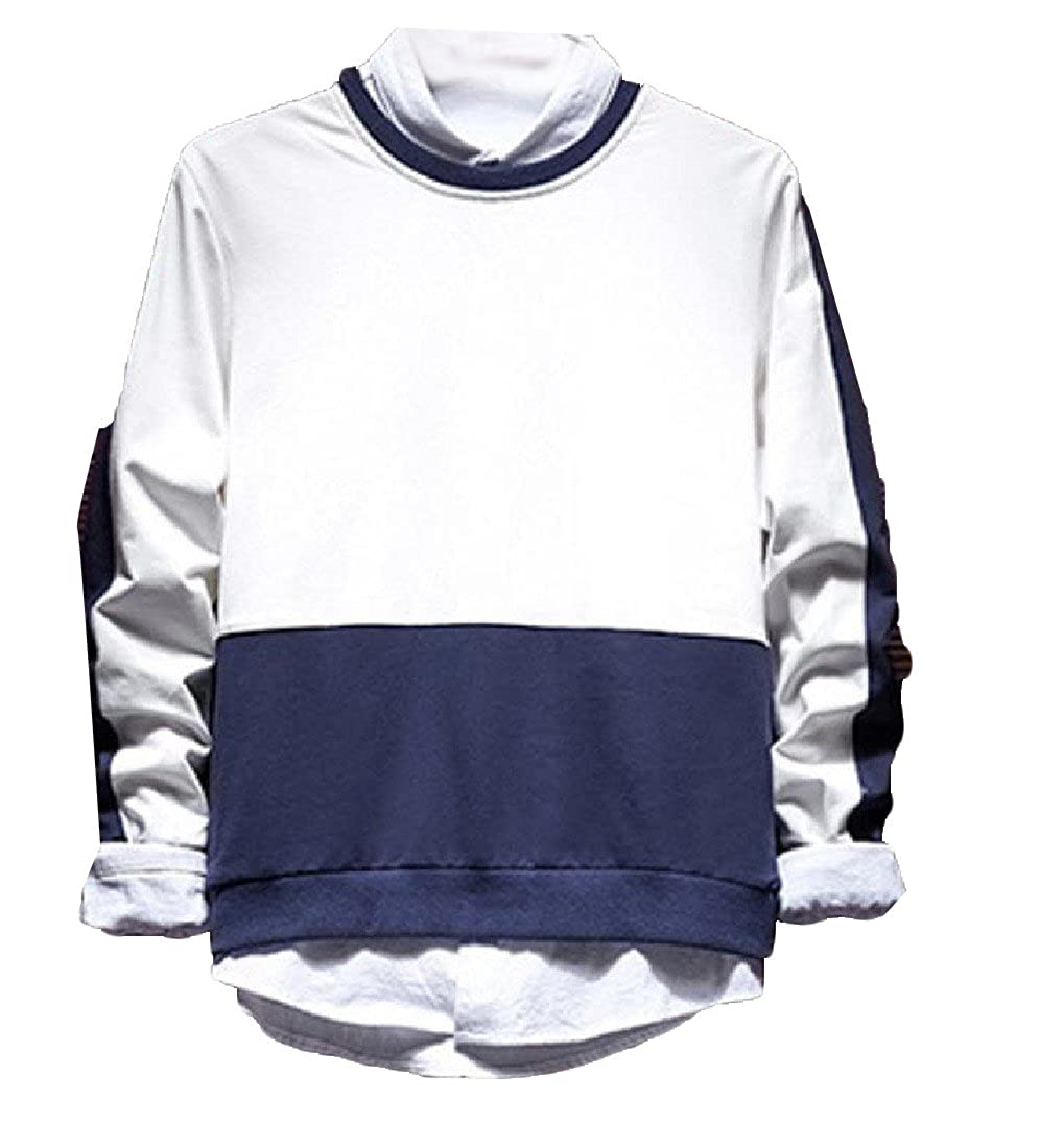 Godeyes Men Long Sleeve Fashion Hit Color Sweatshirt Pullover Jacket