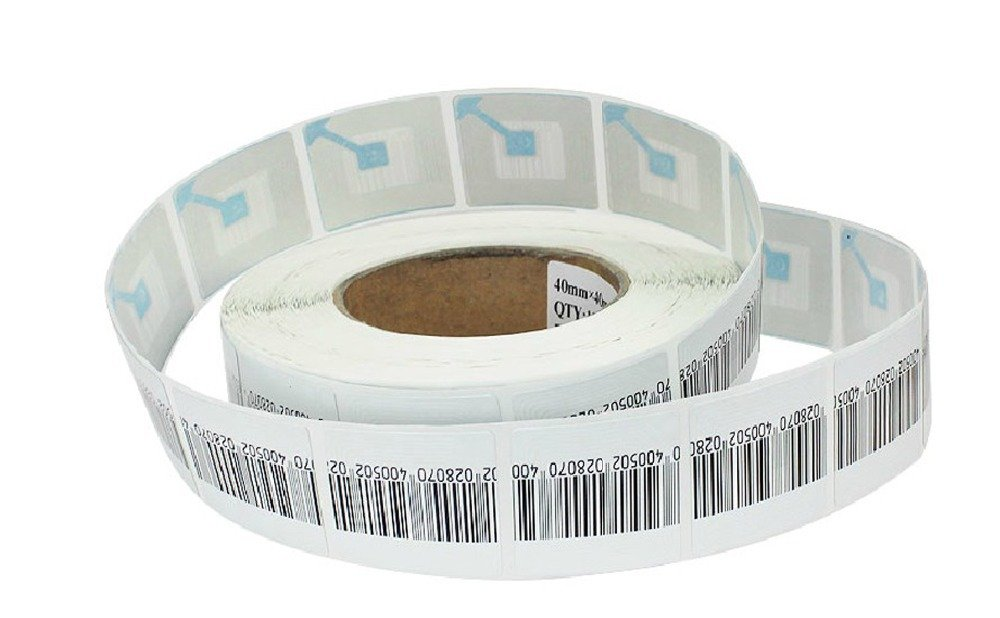 Checkpoint 410 Compatible 8.2 MHz RF Label 4x4cm, Fake Barcode, 1 roll 1K