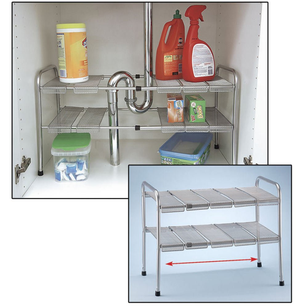 Under Kitchen Sink Storage Amazoncom 2 Tier Expandable Adjustable Under Sink Shelf Storage
