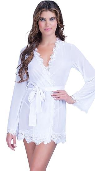 29961656e1 KingsCat Kimono Robe Bathrobes Lace Border Sleepwear Lingerie White at  Amazon Women s Clothing store