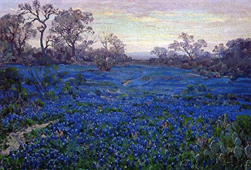 The Museum Outlet - Bluebonnets at Twilight, near San Antonio, 1919-20 - Poster Print Online Buy (60 X 80 - Shopping Outlets Antonio San