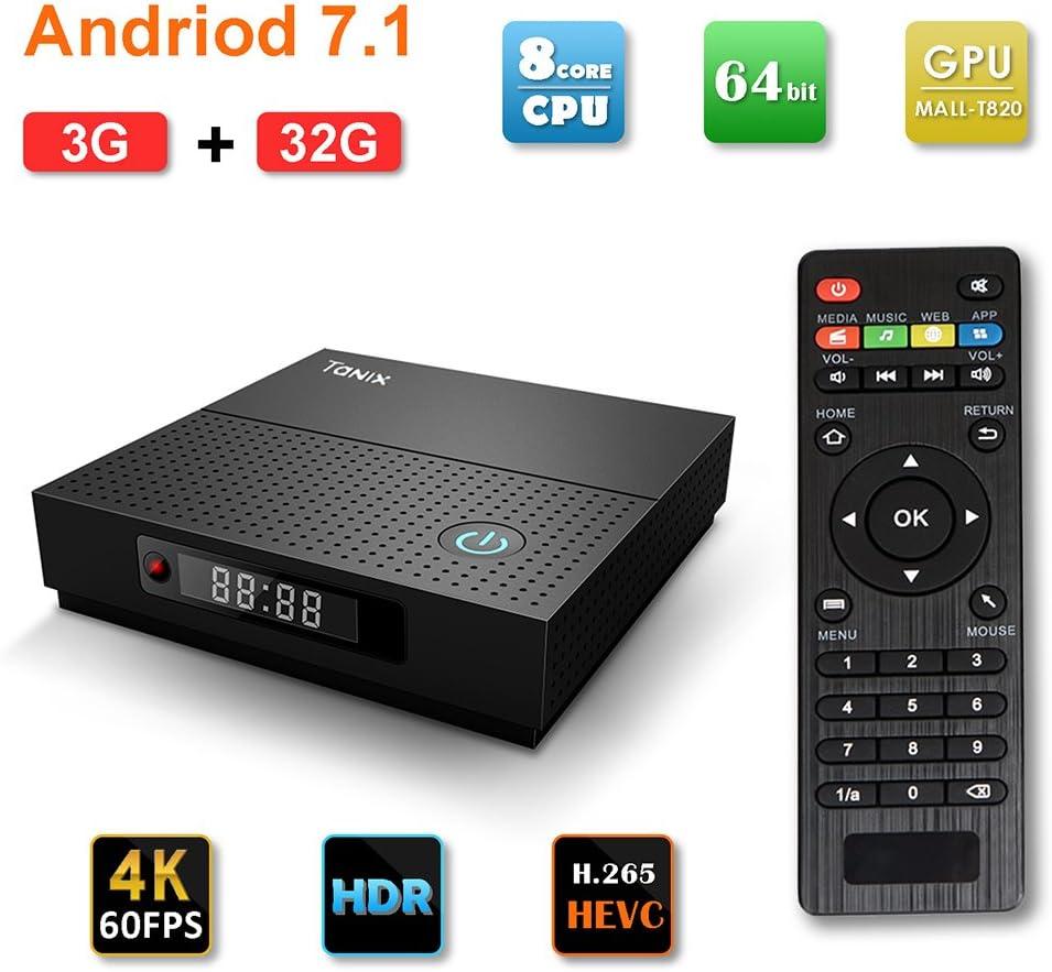 Tanix Android 7.1 TV Box Amlogic S912 Octa Core 3GB/32GB La última Smart TV Box 2.4G/5.0G Dual Band WiFi Support: Amazon.es: Electrónica