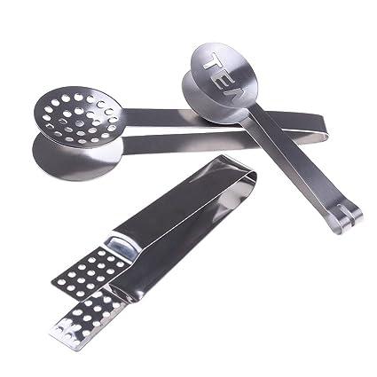 Haishell 2 Pcs Tea Bag Tongs Stainless Steel Teabag Squeezer Metal Spoon Mini Sugar Clip Kitchen Bar Tools