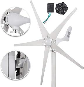 Happybuy Wind Turbine Generator 500W DC 12V Wind Turbine 5 Blade Low Wind Speed Starting NSK Bearings Garden Street Lights Wind Turbines with Charge Controller Garden