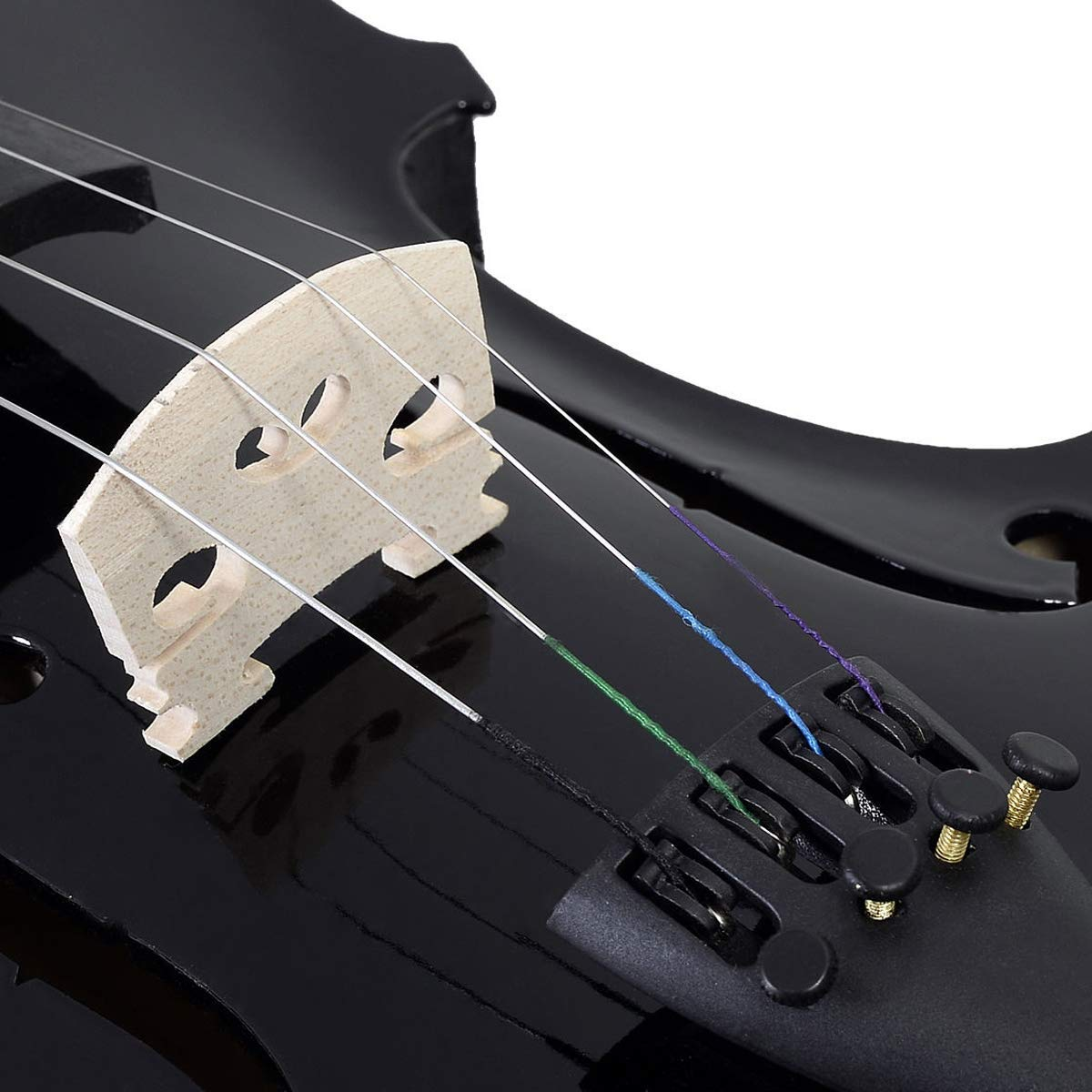 Goplus 4/4 Full Size Acoustic Violin Durable Natural Solid Wood Fiddle for Beginners and Students w/Case, Bow, Rosin and Chin Rest (Black) by Goplus (Image #5)