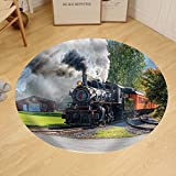 Gzhihine Custom round floor mat Old Vintage Steam Engine Arriving At The Train Depot