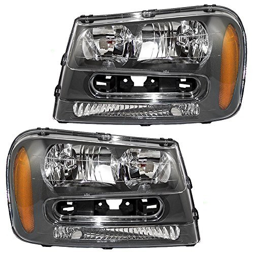 Driver and Passenger Headlights Headlamps Replacement for 02-09 Chevrolet Trailblazer & 02-06 EXT w/Full Width Grille Bar 25970915 25970914