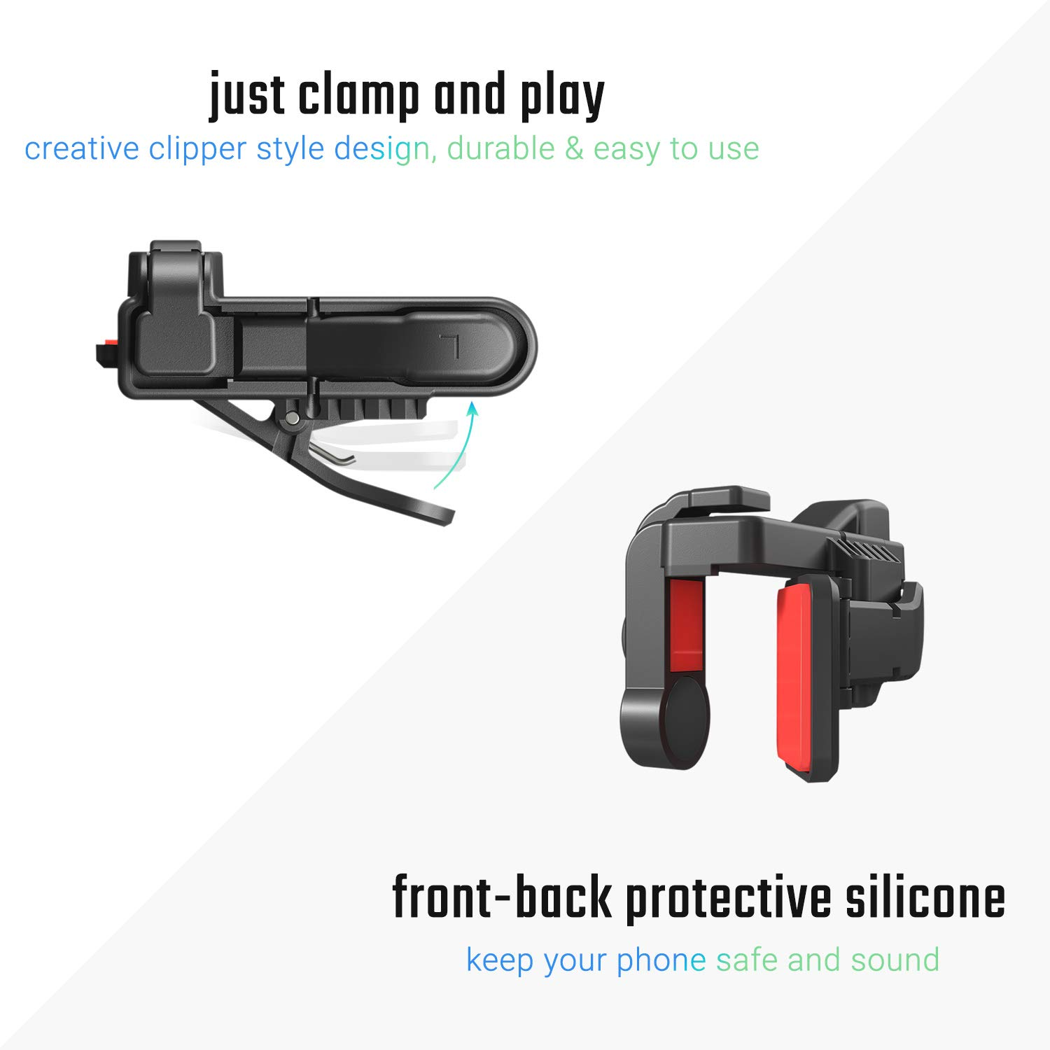 [ELITE Edition]Leuna Mobile Game Controller L1R1 Game Triggers Fire and Aim  Buttons for PUBG for Fortnite for iPhone SE 6 7 8 X Xs XR/Samsung Note 8 9