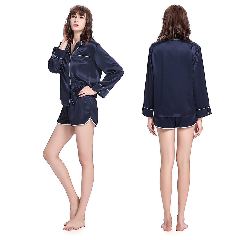 e83252a085 LILYSILK Seide Schlafanzug Nachtwäsche Set 3 Teilig Damen Pyjama mit Weißem  Besatz Kurz/Lang von 22 Momme: Amazon.de: Bekleidung