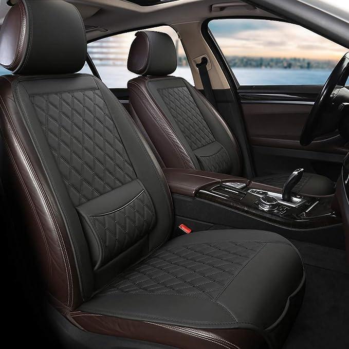 West Llama Universal Fit Auto Sitzauflagen Autositzbezüge Vordersitze Mit Lordosenstütze Und Kopfstützenabdeckung Diamant 1 Paar Schwarz Auto