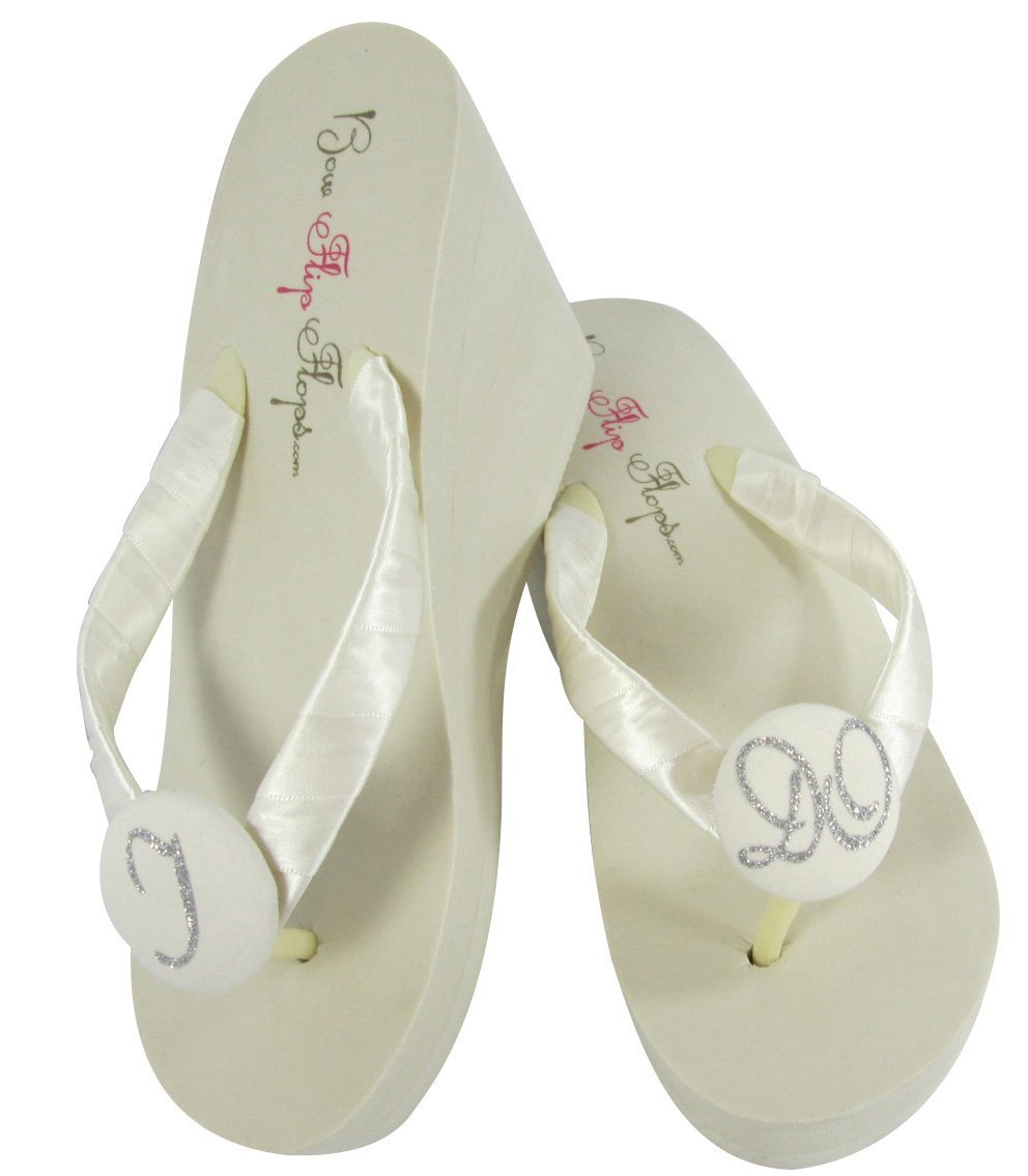 52d6f08ecdb4c1 Ivory Wedge Flip Flops with I Do Glitter for the Bride