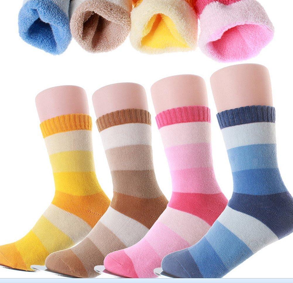 Kids Cotton Athletic Crew Socks Unisex Children Fashion Winter Socks (4-Pairs) Wellwear