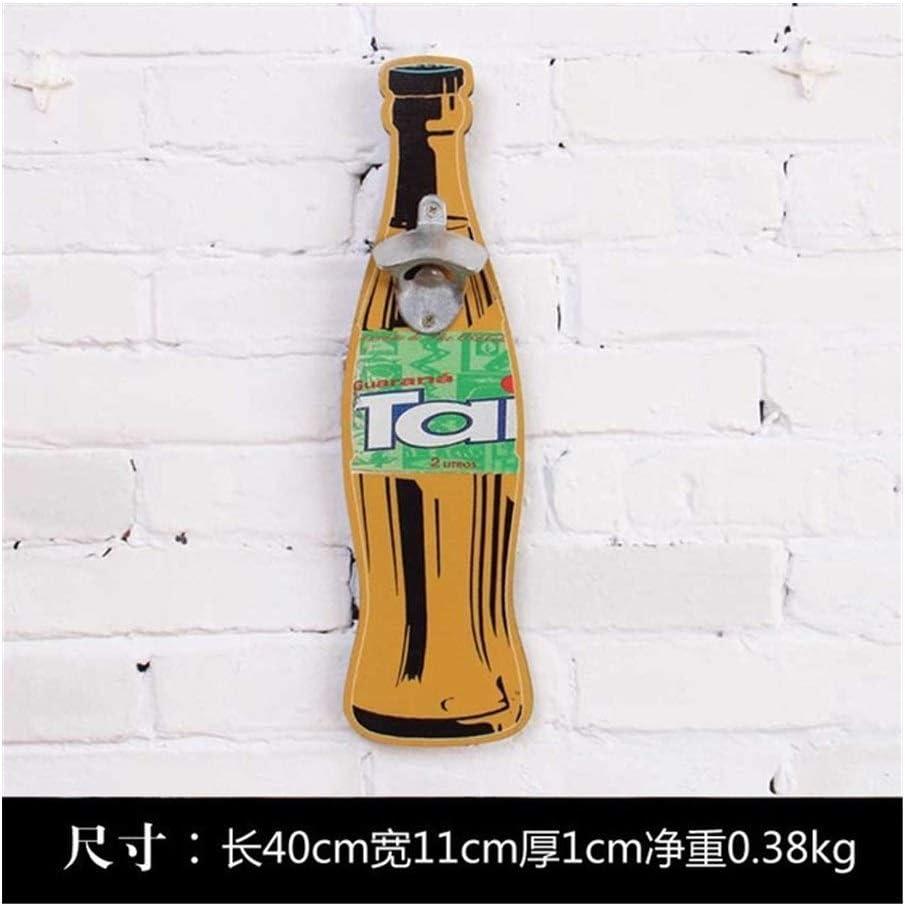 GGLLBL Americana Eroupean Cerveza del Estilo de la Vendimia Pared en Forma de Botella abridor montado en la Pared de la Botella Abridores montado en la Pared de Madera Placas colector de la cápsula