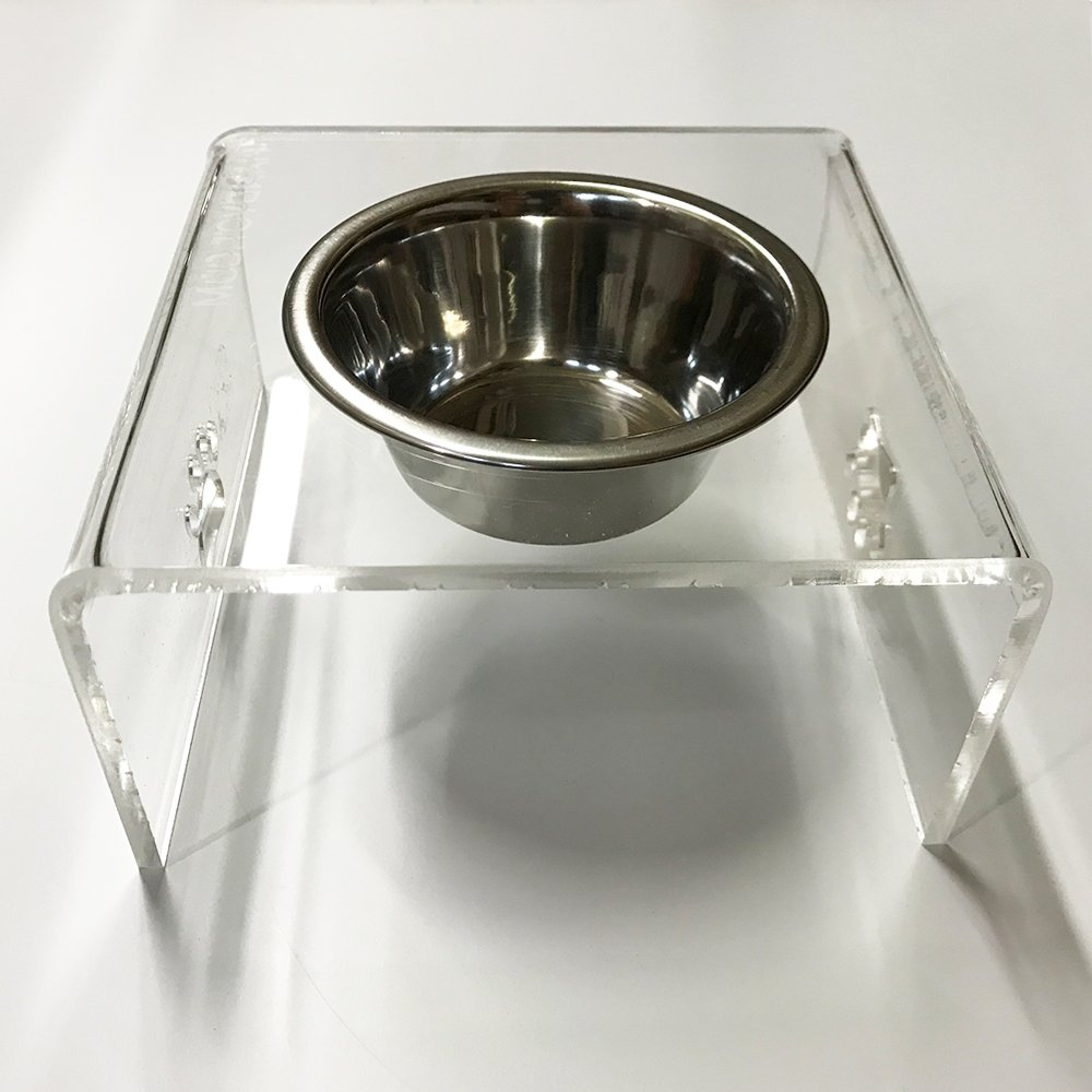 PVC elevated dog cat pet feeder, triple bowl raised stand 2 quart 9'' Tall
